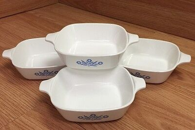 Vtg.Lot of 4 Corning Ware Blue Cornflower 1 3/4 Cup Petite Pans P-41-B (No Lids)
