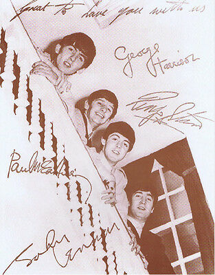 "The Beatles Poster Print - 1963 - Staircase Photo w/ Autograph Prints - 11""x14"""