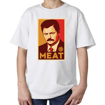 Ron Swanson Parks And Recreation a Meat Bacon funny kids unisex t shirt white