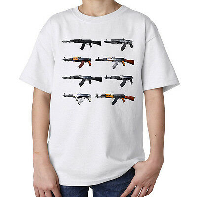 Guns AK-47 AK47 AK 47 graphic gunner's artwork stylish kids unisex t shirt white