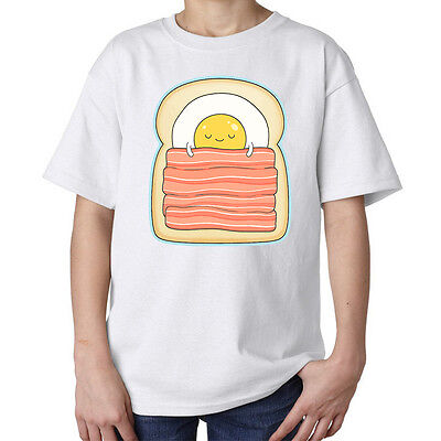 Cute egg and bacon sleeping sandwich funny kids unisex t shirt white