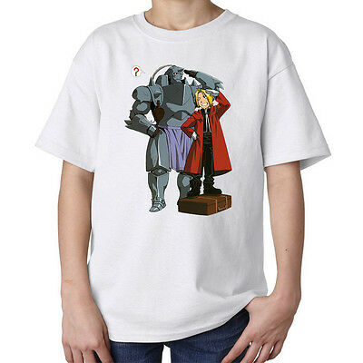 Fullmetal Alchemist Edward and Alphonse anime manga kids unisex t shirt white