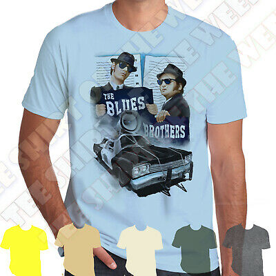 The Blues Brothers Bluesmobile mens T-shirt 100% Cotton,  7 colours to choose