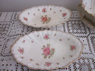 Vintage 1930's Crown Ducal England Roses Gold Trim 2 Oval Dishes Serving Bowls