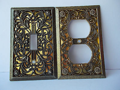 Vintag  Electrical Wall Switch Cover Plates Floral Design Brass Gold