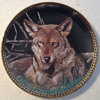 Collectable Wolf Plate 8 1/4 Inches - Still Of The Night -  Hamilton Collection