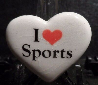 "Preowned Ceramic ""i Love (Heart) Sports"" Pin (61016)"