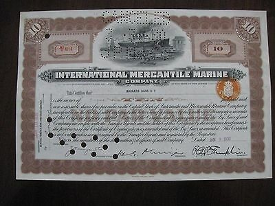 1930 INTERNATIONAL MERCANTILE MARINE Stock Certificate Steamship BROWN
