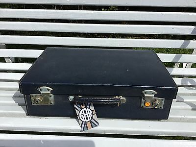 Vintage 1950's Suitcase In Blue With Internal Travel Accessories