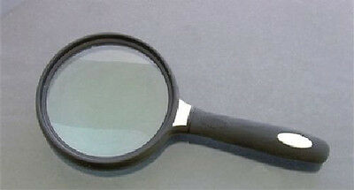 """Large 5 1/2"""" Handheld Magnifier 3x with Rubber Grip"""
