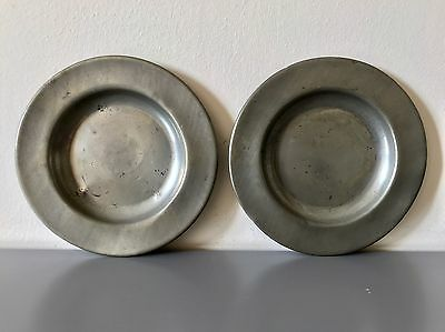 Two ANTIQUE authentic Small pewter plates touchmarks P & D London 15.2 Cm