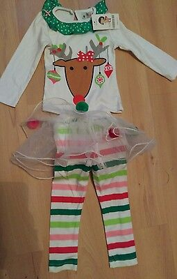 little girls christmas outfit, top& leggings with tutu approx age 1-2 bnwt