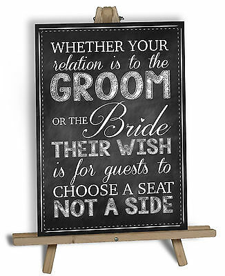 Choose A Seat Not A Side Wedding Sign-A4 A3-Chalkboard- Table Plan- Seating Plan
