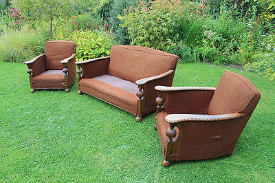 1930's Three piece suite, sofa,2 armchairs