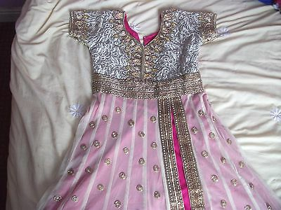 Girls Indian Pink And Blue Anarkali Size 34