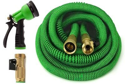 ALL NEW 2019 Expandable Garden Hose Set With All Brass Connectors, 8 Way Nozzle