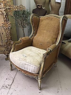 Lovely Old Antique French Wing Back Armchair