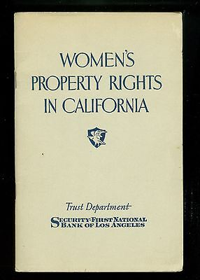 1930 Booklet Women's Property Rights In California