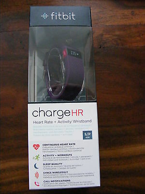 New Purple Plum FitBit Charge HR Monitor Activity Tracker Wristband Size Small
