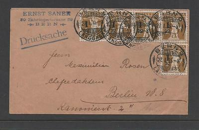 SWITZERLAND 1915 SURCHARGE SG298x5 ON COVER