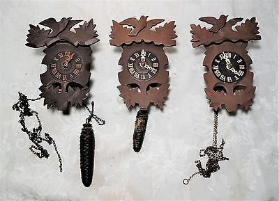 Lot of 3 Vintage Antique German Small Cuckoo Clocks Steinadler Black Forest