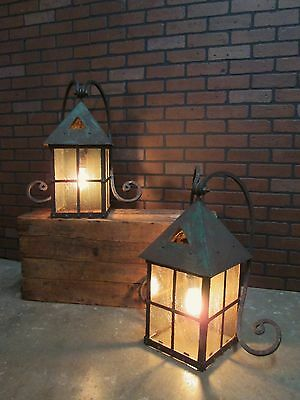 "Antique Pair of HUGE Outdoor Lights California Mission A & C Sconces 25"" Tall"