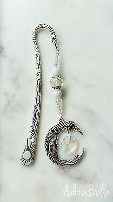 Moon Fairy Girl Silver Star Metal Bookmark Gift Crystal Beaded Book Accessory