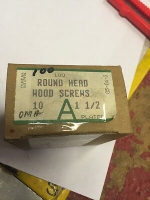 "Vintage ATLAS #10 X 1 1/2""  Inch Round Head SLOTTED Wood Screws 100 PER box"