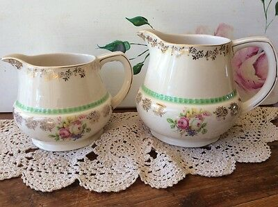 2 X Graduating Jugs H & J Tunstall Collectable Vintage Gold Trim Floral Pitcher