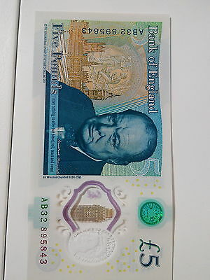 Uncirculated 5 pound note AB