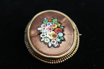 Antique Early 1800's Victorian Gold Plated Flower Brooch