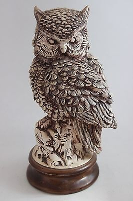 Vintage Hand Made Signed Ceramic Owl Sculpture Highly Detailed