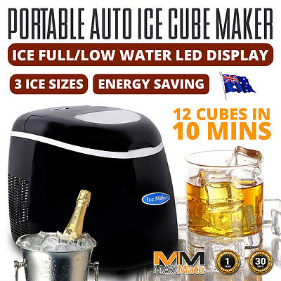 Portable Automatic Ice Cube Maker 3 Sizes LED Controls Alarms 12pcs /10mins 150W