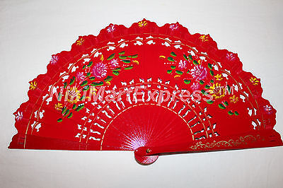 Quality Vintage Hand Painted Spanish Flamenco Dance Wooden Folding Hand Held Fan