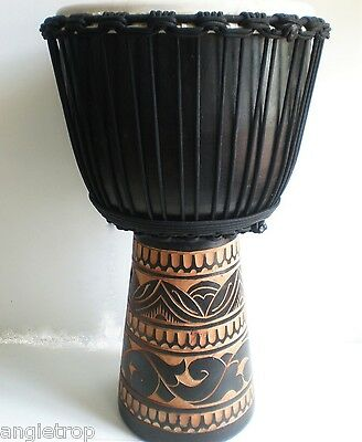 Pro Quality Mahogany Wood Bongo Djembe Drum Tribal Carved Black Huge 65Cm Tall