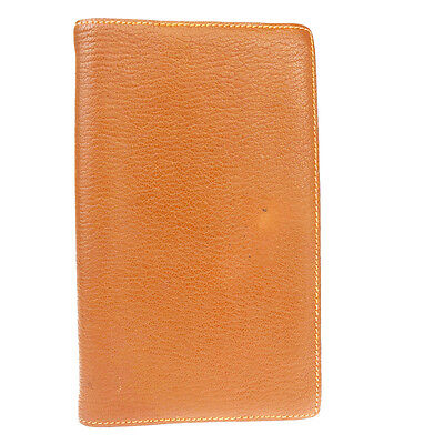 Authentic HERMES Logos Agenda Notebook Cover Leather Brown France Vintage 08S768