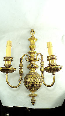 Large Special 3 piece set antique gilt brass artichoke double light wall sconces