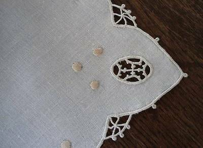 Vintage Italian Linen Table Runner Placemat Set Needle Lace Picots