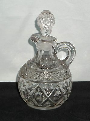 "Imperial CAPE COD CRYSTAL *5"" OIL/VINEGAR CRUET w/STOPPER*160/119"