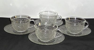 4 Anchor Hocking SANDWICH CRYSTAL *CUPS & SAUCERS*