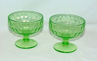 "2 Federal THUMBPRINT GREEN *3"" FOOTED SHERBETS*"