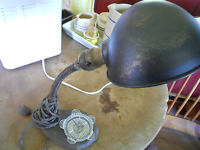 Antique Vintage Steampunk Gooseneck Metal Shade Light