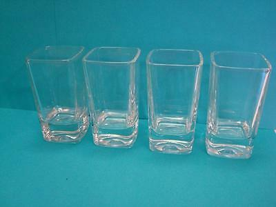 """Set of 4~Clear~Thick~Glass~Square~Juice~Shot Glass~2 1/2 oz~3 3/8"""" Tall~"""