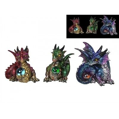 Set of 3 Mystical Dragon with Coloured Light Up Ball 11cm -NEW