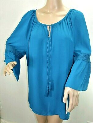 b517c1d5f34 Zac   Rachel Women Plus Size 1x 2x 3x Hi Lo Solid Teal Tunic Top Blouse