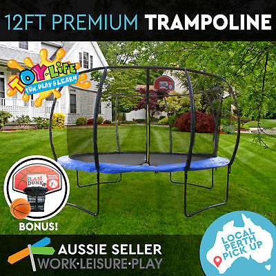 12ft 366cm Trampoline Round Free Basketball Safety Net Cover PERTH PICK UP ONLY