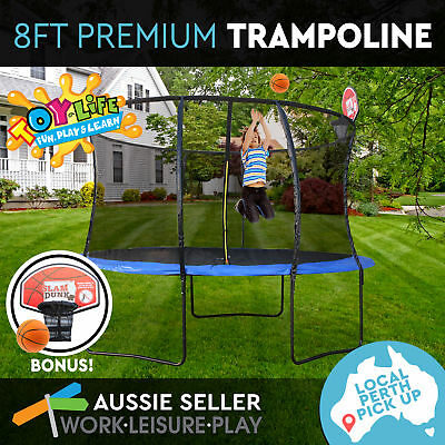 8ft 244cm Round Trampoline Safety Net Spring Cover Basketball PERTH PICK UP ONLY