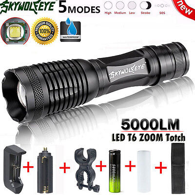 5000LM G700 XM-L T6 LED Zoom Flashlight X800 Lumitact Tactical Torch Light Kits