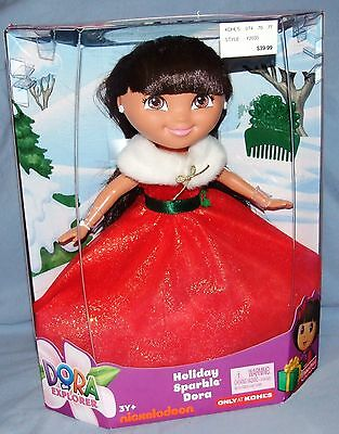 """Fisher-Price Holiday Sparkle Dora the Explorer Doll 12"""" Christmas Doll NEW"""