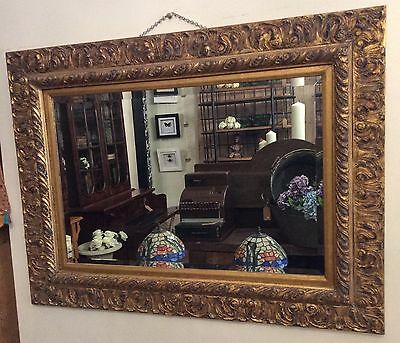 Antique Style Large Gilt, Hand Carved Timber Framed Wall Mirror